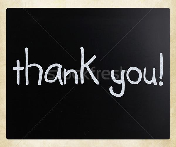 'Thank you' handwritten with white chalk on a blackboard Stock photo © nenovbrothers