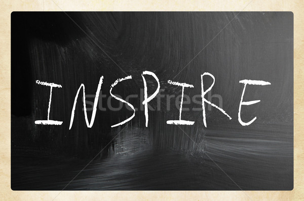 'Inspire' handwritten with white chalk on a blackboard Stock photo © nenovbrothers