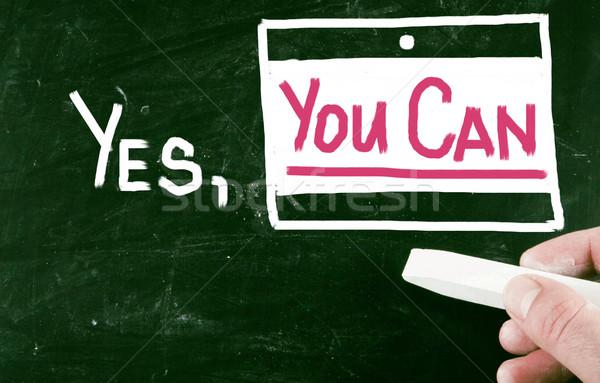 Evet can çalışmak yardım Retro başarı Stok fotoğraf © nenovbrothers