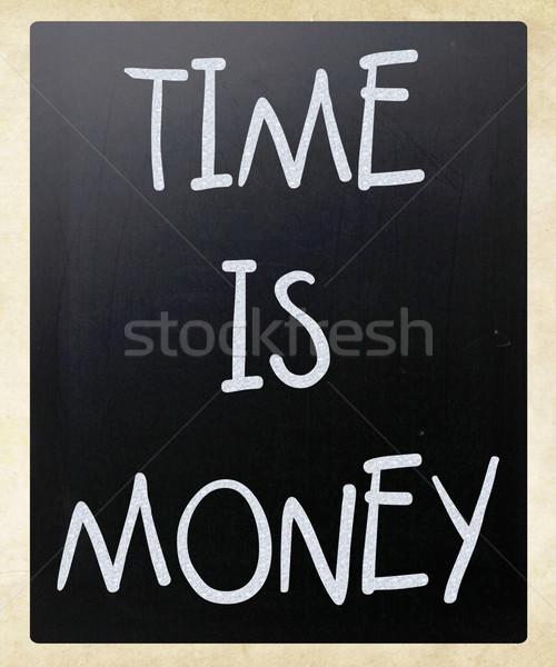 Tijd is geld witte krijt Blackboard Stockfoto © nenovbrothers