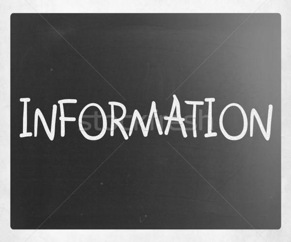 'Information' handwritten with white chalk on a blackboard Stock photo © nenovbrothers