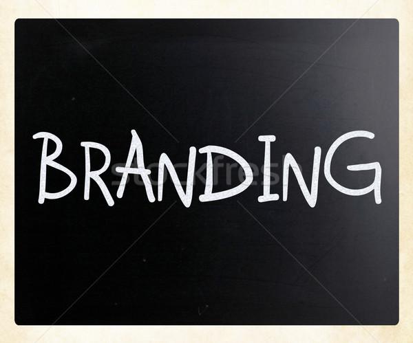 Stock fotó: Branding · kézzel · írott · fehér · kréta · iskolatábla · üzlet