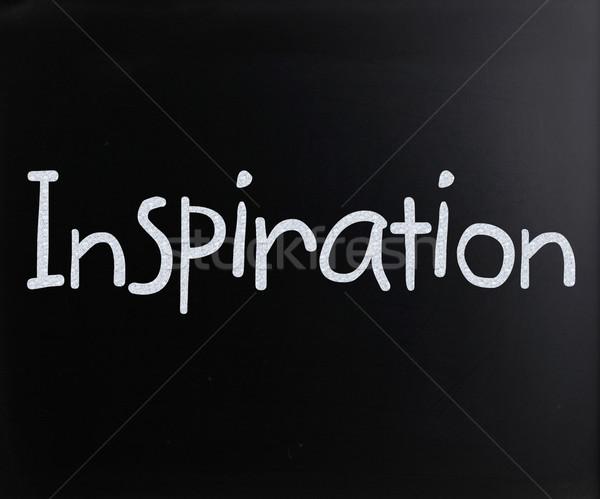 Szó inspiráció kézzel írott fehér kréta iskolatábla Stock fotó © nenovbrothers