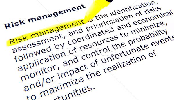 Gestão de risco caneta documento gestão amarelo ensino Foto stock © nenovbrothers
