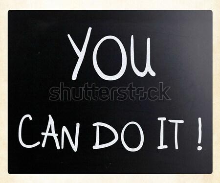 The word 'Joy' handwritten with white chalk on a blackboard Stock photo © nenovbrothers