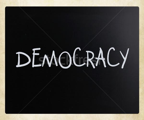слово демократия белый мелом доске Сток-фото © nenovbrothers