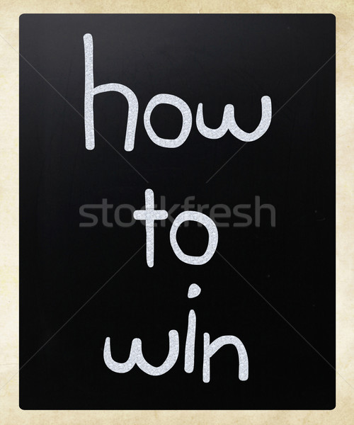 'How to win' handwritten with white chalk on a blackboard Stock photo © nenovbrothers