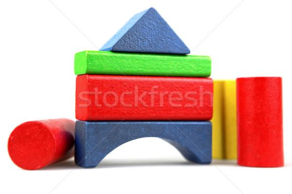 Blocos de construção construção criança projeto azul Foto stock © nenovbrothers