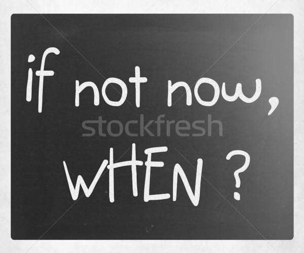 Pas maintenant blanche craie tableau noir Photo stock © nenovbrothers