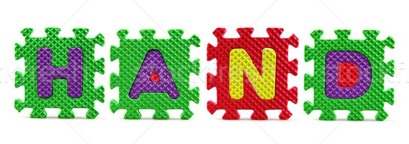 ábécé kirakó darabok fehér háttér oktatás doboz Stock fotó © nenovbrothers