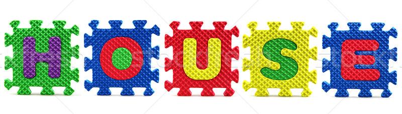Alfabet puzzelstukjes witte achtergrond onderwijs vak Stockfoto © nenovbrothers