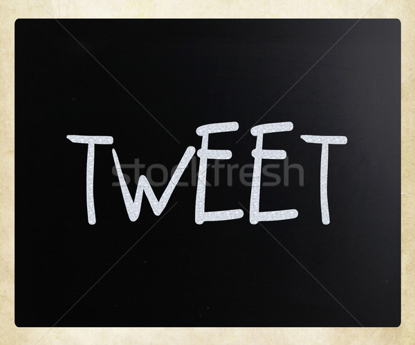Tweet blanche craie tableau noir internet Photo stock © nenovbrothers