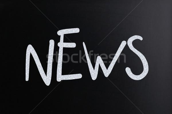 Kelime haber beyaz tebeşir tahta Stok fotoğraf © nenovbrothers