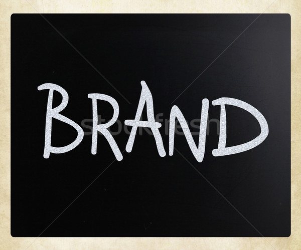 'BRAND' handwritten with white chalk on a blackboard Stock photo © nenovbrothers