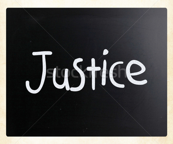 'Justice' handwritten with white chalk on a blackboard Stock photo © nenovbrothers