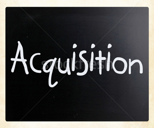 The word 'Acquisition' handwritten with white chalk on a blackbo Stock photo © nenovbrothers