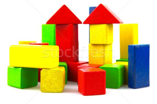 Zdjęcia stock: Budynków · wielokondygnacyjnych · odizolowany · biały · tle · zielone