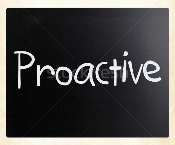 Szó proaktív kézzel írott fehér kréta iskolatábla Stock fotó © nenovbrothers