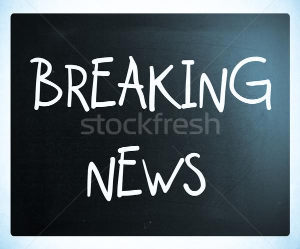 Rendkívüli hírek kézzel írott fehér kréta iskolatábla hálózat Stock fotó © nenovbrothers