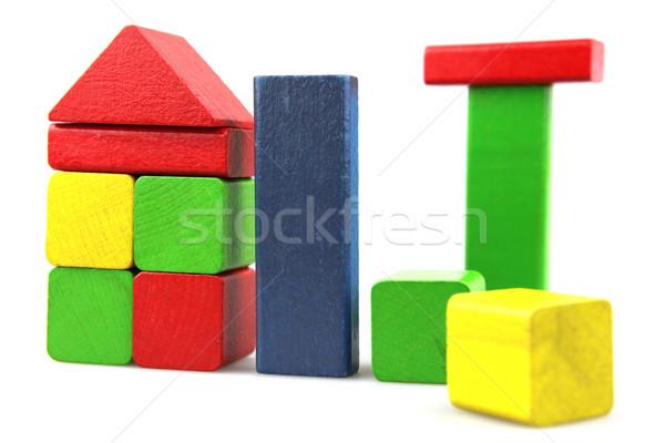 Fából készült tömbházak építkezés gyermek terv háttér Stock fotó © nenovbrothers