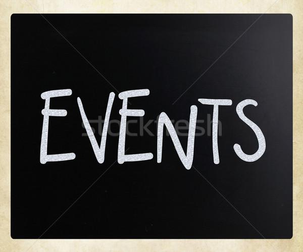 Evenementen witte krijt Blackboard ontwerp Stockfoto © nenovbrothers