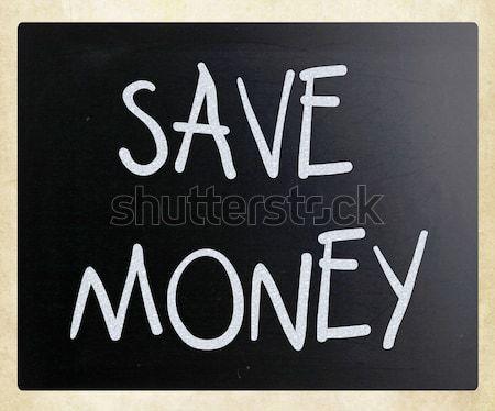 Tasarruf beyaz tebeşir tahta para Stok fotoğraf © nenovbrothers