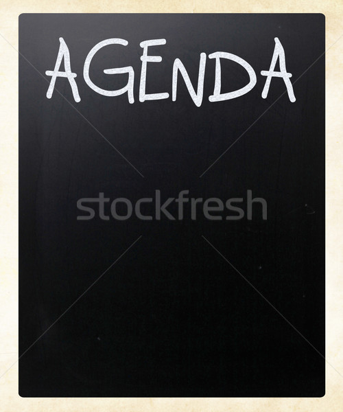 'AGENDA' handwritten with white chalk on a blackboard Stock photo © nenovbrothers