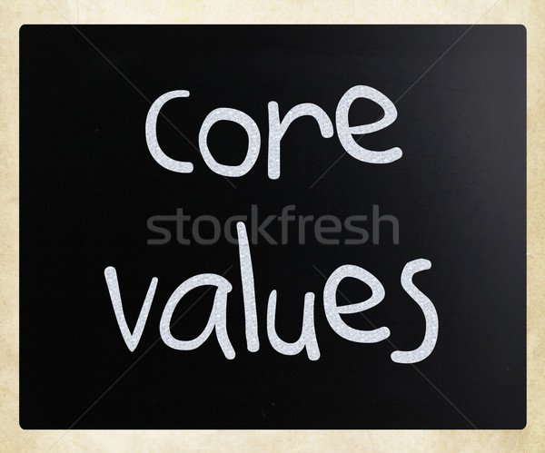 Ethics concept - core values handwritten with white chalk on a b Stock photo © nenovbrothers