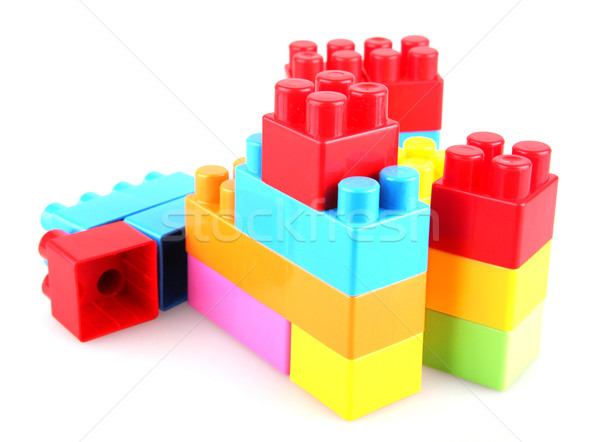 Plastic witte gebouw groene speelgoed Stockfoto © nenovbrothers