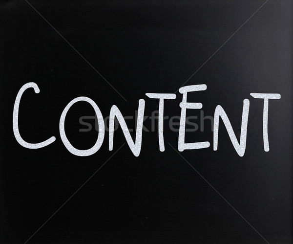 The word 'Content' handwritten with white chalk on a blackboard Stock photo © nenovbrothers