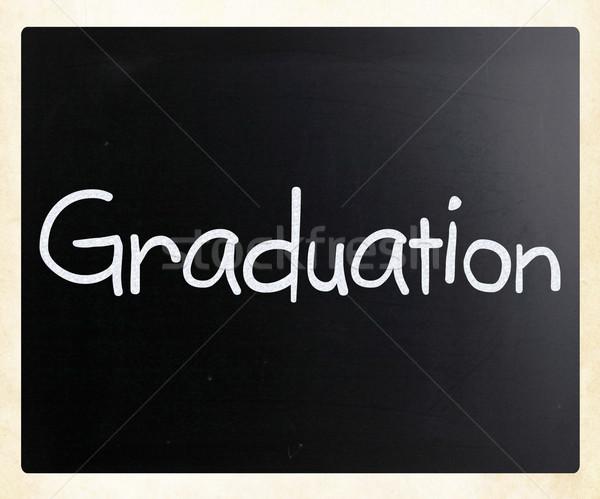 Kelime mezuniyet beyaz tebeşir tahta Stok fotoğraf © nenovbrothers