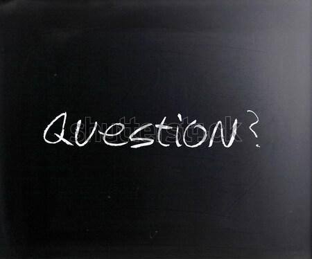 Foto d'archivio: Questione · manoscritto · bianco · gesso · lavagna · scuola