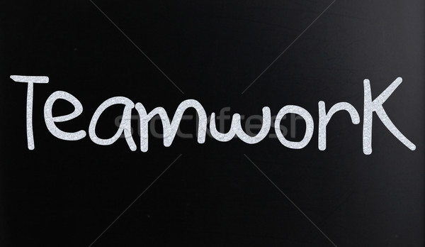 The word 'Teamwork' handwritten with white chalk on a blackboard Stock photo © nenovbrothers