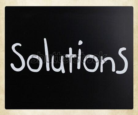 Foto stock: Soluciones · blanco · tiza · pizarra · signo