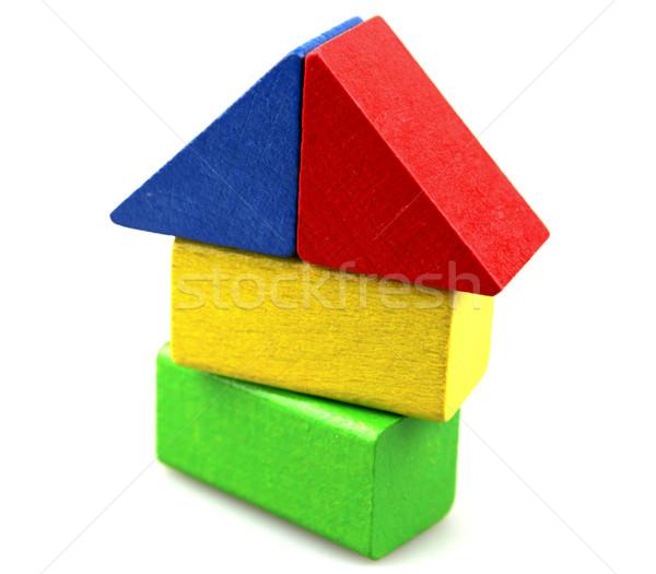 Bloques de construcción fondo azul edificios rojo Foto stock © nenovbrothers