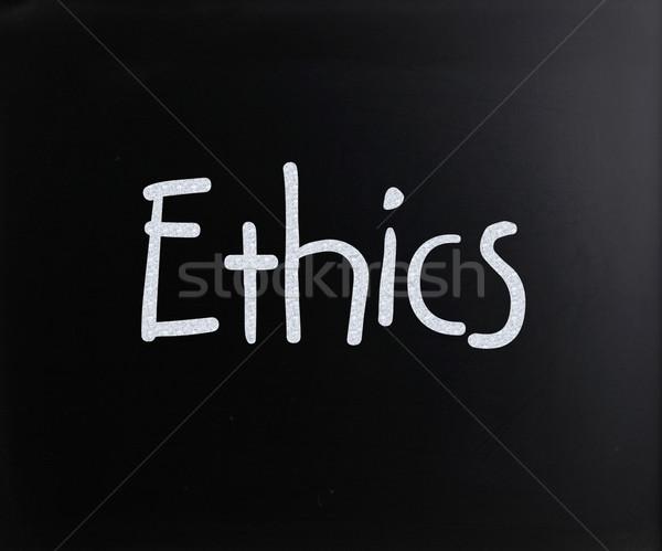 Słowo etyka biały kredy tablicy Zdjęcia stock © nenovbrothers