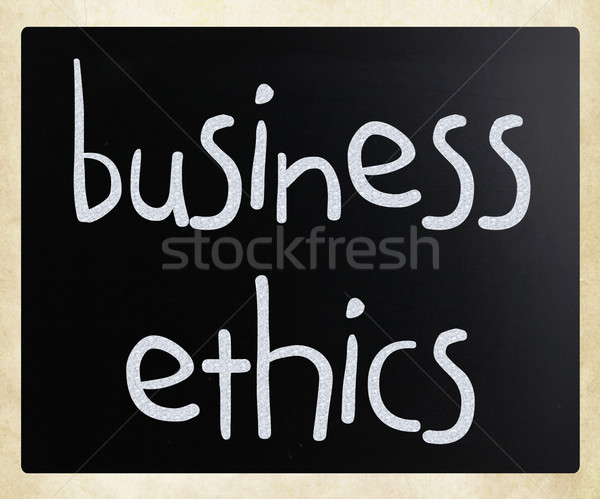 'Business Ethics' handwritten with white chalk on a blackboard Stock photo © nenovbrothers
