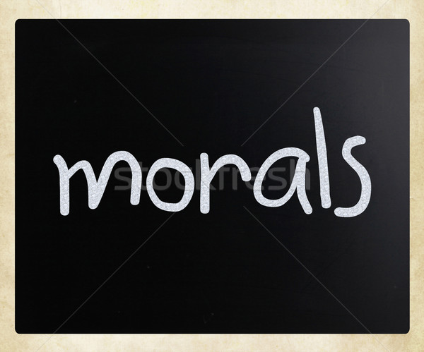 'Morals' handwritten with white chalk on a blackboard Stock photo © nenovbrothers