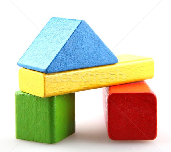 Houten bouwstenen hout bouw achtergrond groene Stockfoto © nenovbrothers