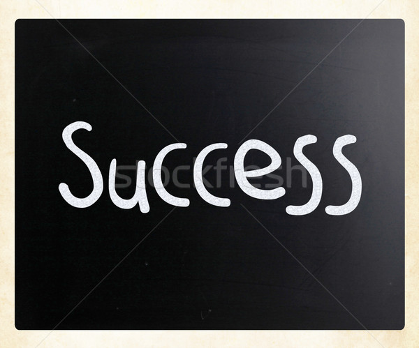 Stock photo: The word 'Success' handwritten with white chalk on a blackboard