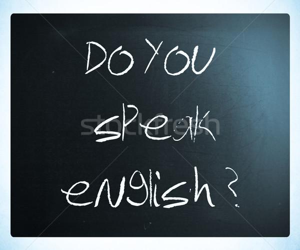 Zdjęcia stock: Mówić · angielski · biały · kredy · tablicy