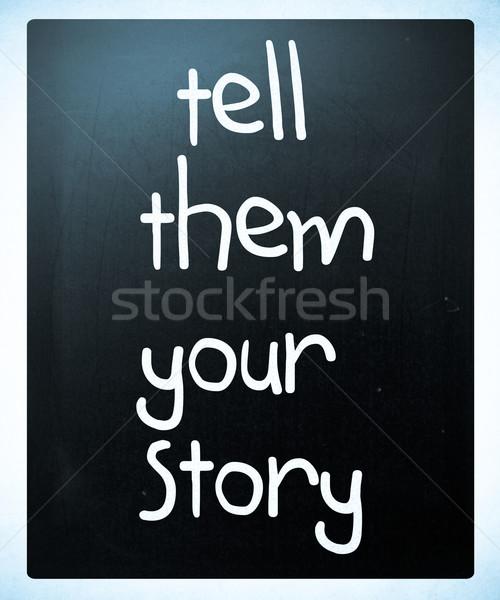 Történet kézzel írott fehér kréta iskolatábla fa Stock fotó © nenovbrothers