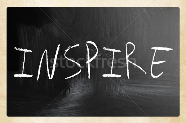 Inspirer blanche craie tableau noir écrit Photo stock © nenovbrothers