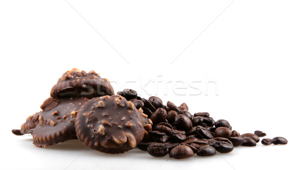 Café biscuit alimentaire chocolat sombre blanche Photo stock © nenovbrothers