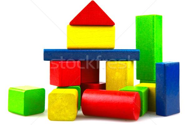 ストックフォト: 木製 · ビルディングブロック · 孤立した · 白 · 背景 · 緑