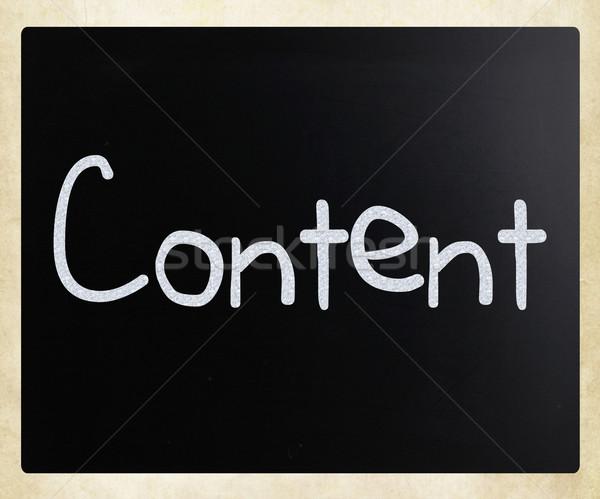 Woord inhoud witte krijt Blackboard Stockfoto © nenovbrothers
