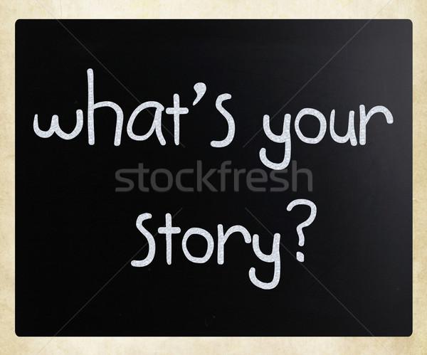 Stock fotó: Mi · történet · kézzel · írott · fehér · kréta · iskolatábla