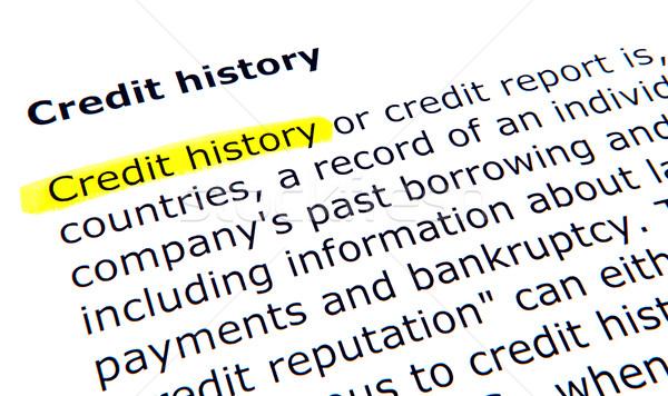 Krediet geschiedenis pen document Geel onderwijs Stockfoto © nenovbrothers