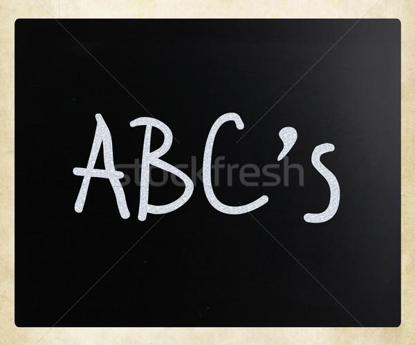 'ABC's' handwritten with white chalk on a blackboard Stock photo © nenovbrothers