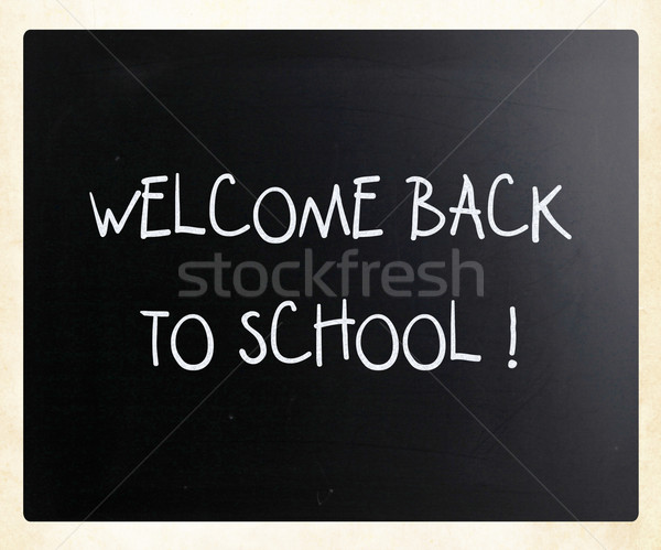 'Welcome back to school' handwritten with white chalk on a black Stock photo © nenovbrothers